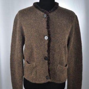 FENDI Italian Sweater / Jacket Fur Trim